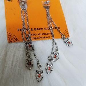Silver Orange Jewel Dangle Chain Earrings Spooky